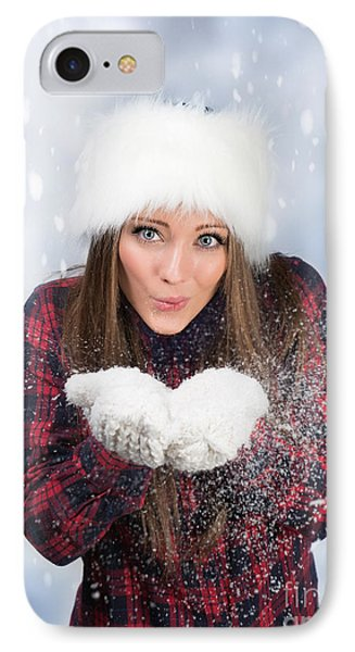 Blowing Snow In Winter IPhone Case by Amanda Elwell