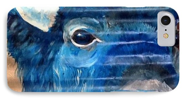 IPhone Case featuring the painting Blu Bison by Patty Sjolin