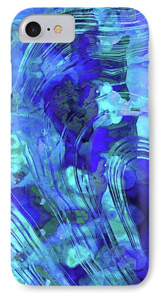 IPhone Case featuring the painting Blue Abstract Art - Reflections - Sharon Cummings by Sharon Cummings