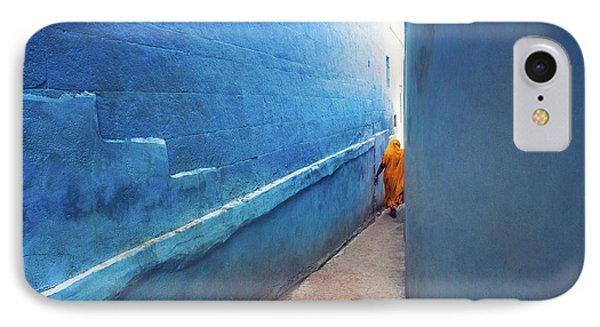Blue Alleyway Phone Case by Marji Lang