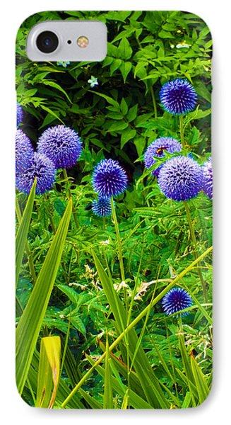 Blue Allium Flowers IPhone Case by Judi Saunders