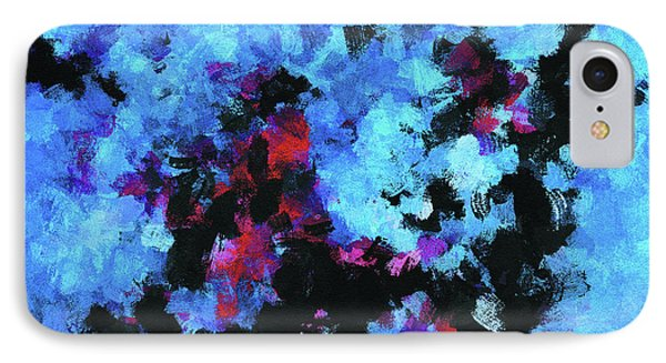 IPhone Case featuring the painting Blue And Black Abstract Wall Art by Ayse Deniz