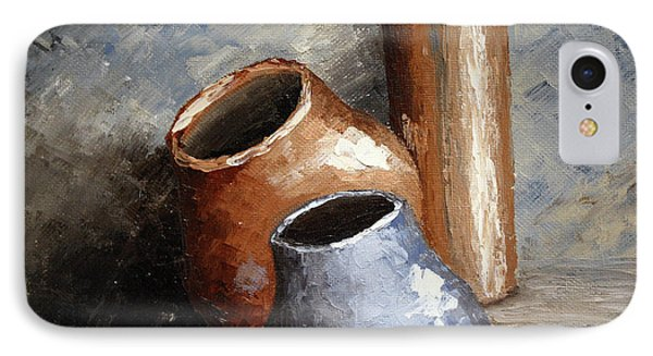 Blue And Brown Pots IPhone Case by Roena King