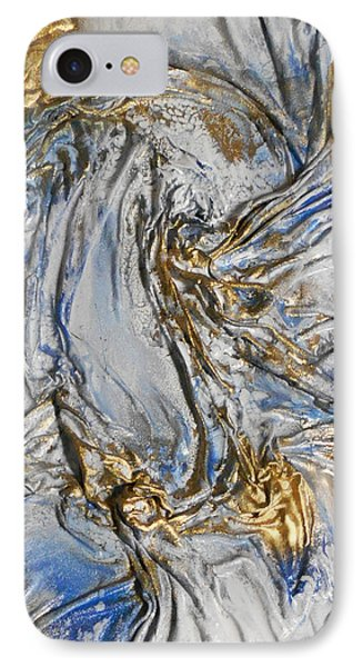 Blue And Gold 3 IPhone Case by Angela Stout