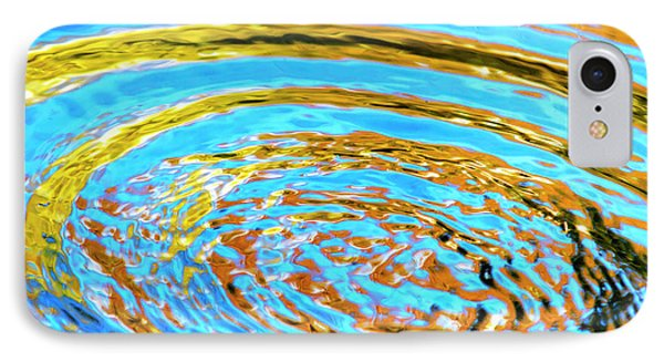 Blue And Gold Spiral Abstract Phone Case by Christina Rollo