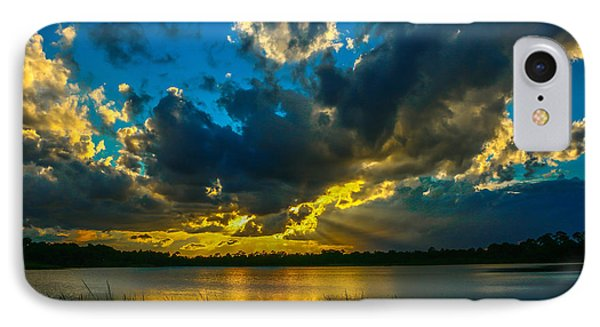 Blue And Gold Sunset With Rays IPhone Case