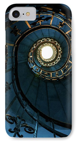 IPhone Case featuring the photograph Blue And Golden Spiral Staircase by Jaroslaw Blaminsky