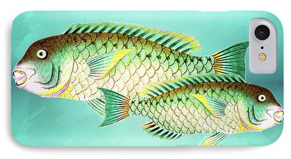 Blue And Green Fish Wall Art IPhone Case