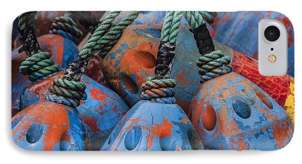 Blue And Orange Fishing Buoys IPhone Case by Carol Leigh