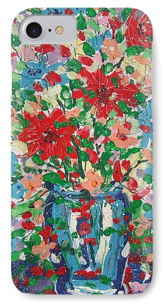 Blue And Red Flowers. IPhone Case