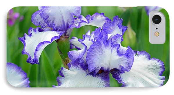 IPhone Case featuring the photograph Blue And White Iris by Rodney Campbell