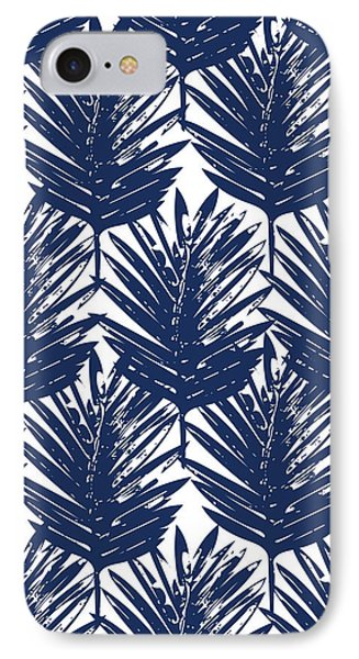 Blue And White  Palm Leaves 3 - Art By Linda Woods IPhone Case