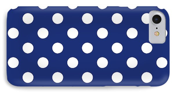 Blue And White Polka Dots- Art By Linda Woods IPhone Case by Linda Woods