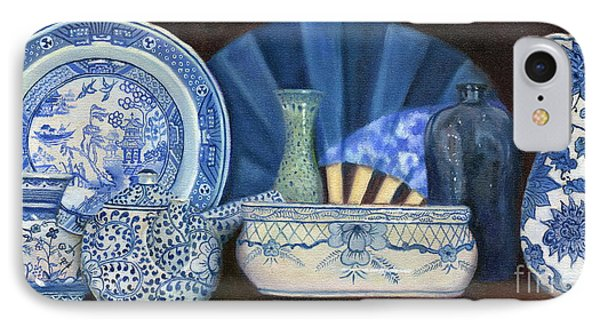 IPhone Case featuring the painting Blue And White Porcelain Ware by Marlene Book