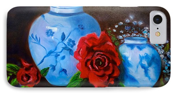 IPhone Case featuring the painting Blue And White Pottery And Red Roses by Jenny Lee