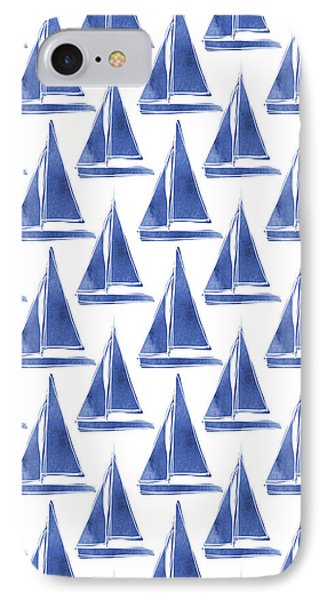Boat iPhone 7 Case - Blue And White Sailboats Pattern- Art By Linda Woods by Linda Woods