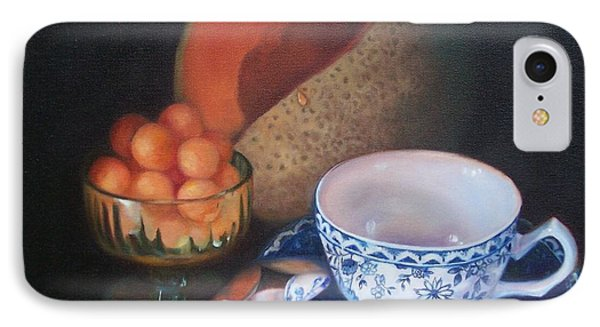 Blue And White Teacup And Melon Phone Case by Marlene Book