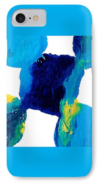 Blue And Yellow Sea Interactions  IPhone Case by Amy Vangsgard