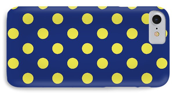 Blue And Yellow Polka Dots- Art By Linda Woods IPhone Case by Linda Woods
