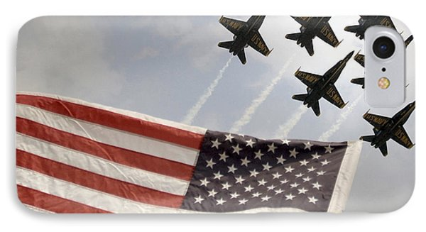 Blue Angels Soars Over Old Glory As They Perform The Delta Formation IPhone Case by Celestial Images