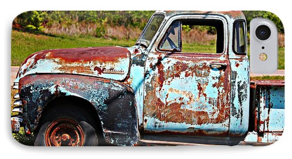 Blue Antique Chevy Truck- Fine Art IPhone Case by KayeCee Spain