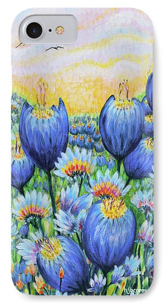 IPhone Case featuring the painting Blue Belles by Holly Carmichael