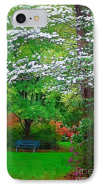 IPhone Case featuring the photograph Blue Bench In Park by Donna Bentley