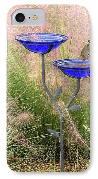IPhone Case featuring the photograph Blue Bird Bath by Rosalie Scanlon