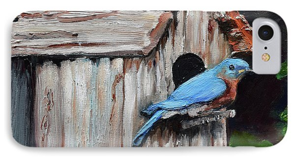 IPhone Case featuring the painting Blue Bird On Lake Odom by Jan Dappen