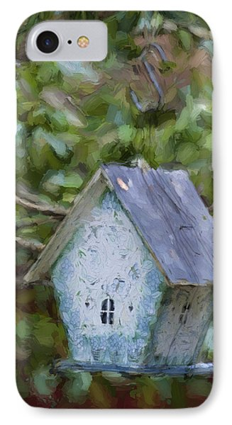 Blue Birdhouse Painterly Effect IPhone Case by Carol Leigh