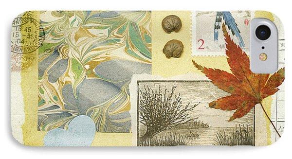 IPhone Case featuring the mixed media Blue Birds Collage by Jan Bickerton
