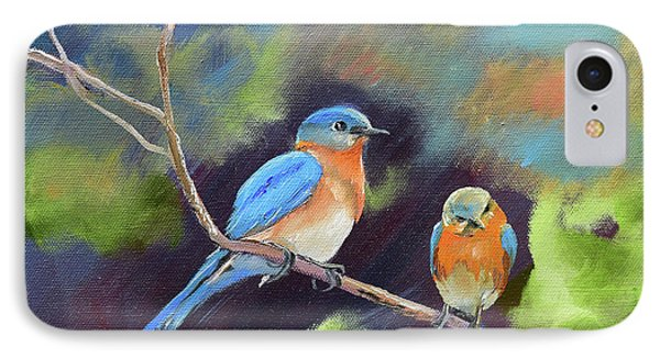 IPhone Case featuring the painting Blue Birds - Soul Mates by Jan Dappen