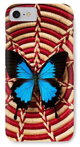 Blue Black Butterfly In Basket Phone Case by Garry Gay