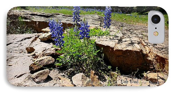 Blue Bonnets On The Rocks IPhone Case