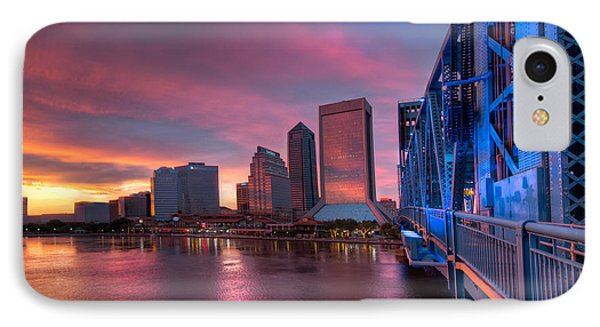 Blue Bridge Red Sky Jacksonville Skyline Phone Case by Debra and Dave Vanderlaan