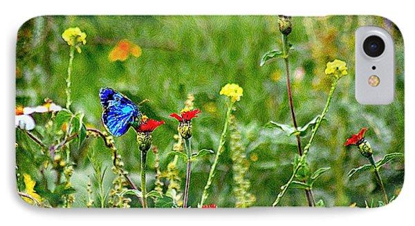 Blue Butterfly In Meadow IPhone Case by John  Kolenberg