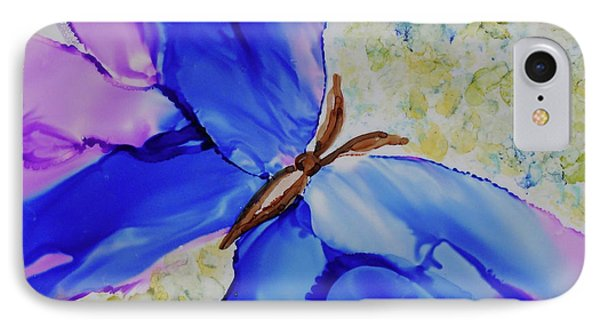 IPhone Case featuring the painting Blue Butterfly by Joanne Smoley