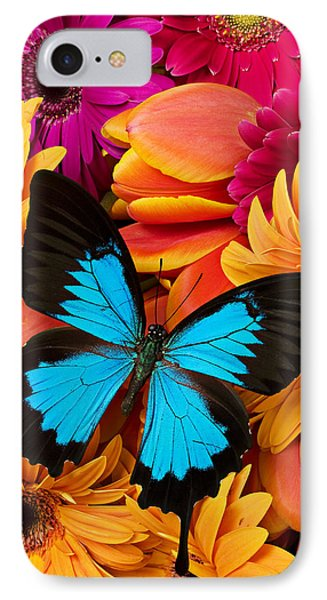 Blue Butterfly On Brightly Colored Flowers IPhone 7 Case by Garry Gay