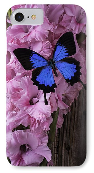 Blue Butterfly On Glads IPhone Case