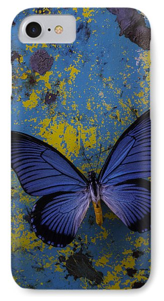 Blue Butterfly On Rusty Wall IPhone Case by Garry Gay