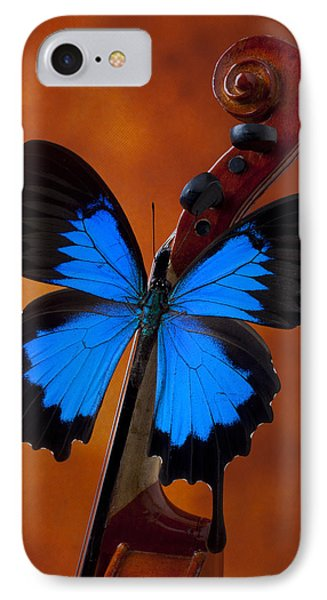 Blue Butterfly On Violin Phone Case by Garry Gay