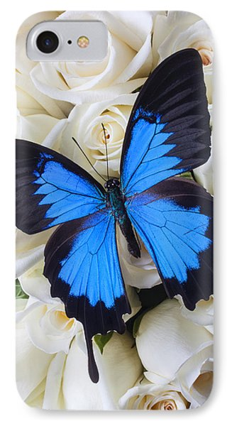 Blue Butterfly On White Roses Phone Case by Garry Gay