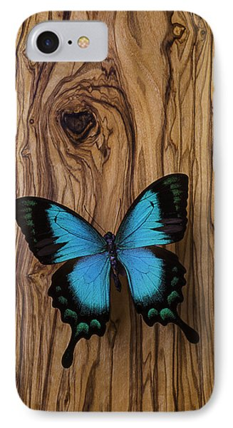 Blue Butterfly On Wood Grain IPhone Case by Garry Gay