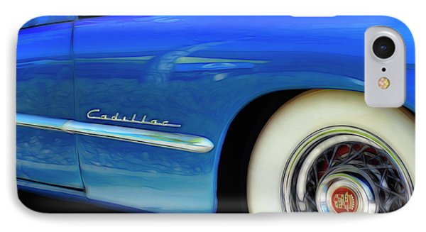 IPhone Case featuring the photograph Blue Cadillac - Classic Car by Ann Powell