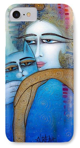 Blue Cat IPhone Case by Albena Vatcheva