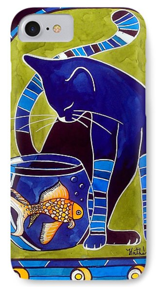 Blue Cat With Goldfish Phone Case by Dora Hathazi Mendes