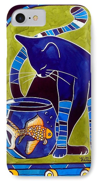 Blue Cat With Goldfish IPhone Case by Dora Hathazi Mendes