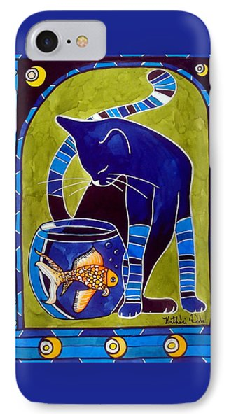 IPhone Case featuring the painting Blue Cat With Goldfish by Dora Hathazi Mendes