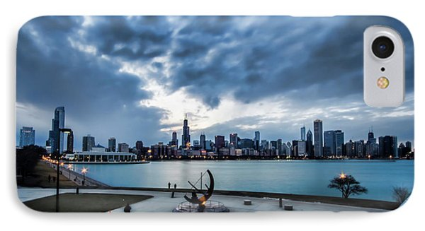 Blue Clouds And Chicago Skyline IPhone Case