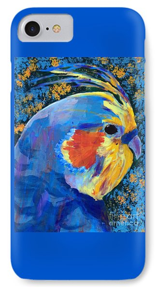 IPhone Case featuring the painting Blue Cockatiel by Donald J Ryker III